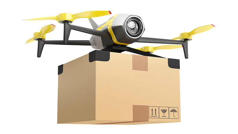 Drone delivering a package to your door