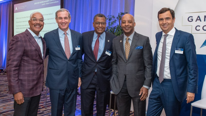 ELC CEO Skip Spriggs joins (left to right) JLL Americas CEO Greg O'Brien, JLL Vice Chairman Herman Bulls, Lowe's CEO Marvin Ellison and JLL Global CEO Christian Ulbrich