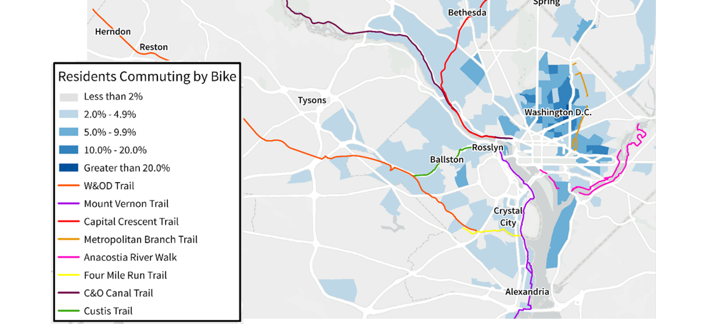 Washington DC biking amenities are in vogue in the suburbs, but where are the commuters?