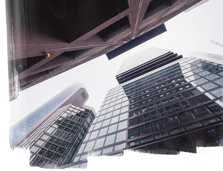 Looking up at buildings