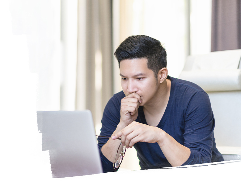 Person looking at computer
