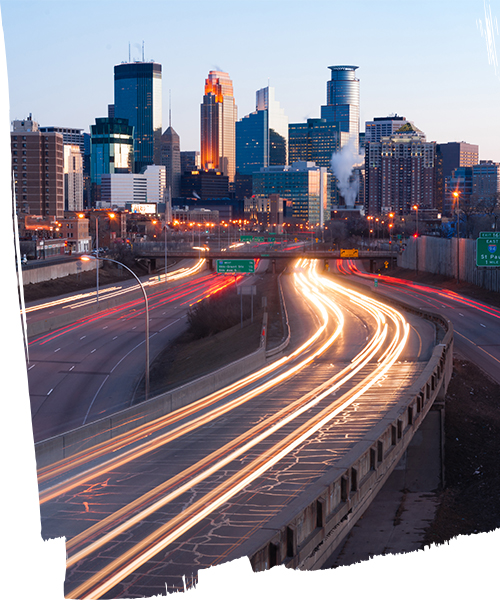 Minneapolis skyline from highway