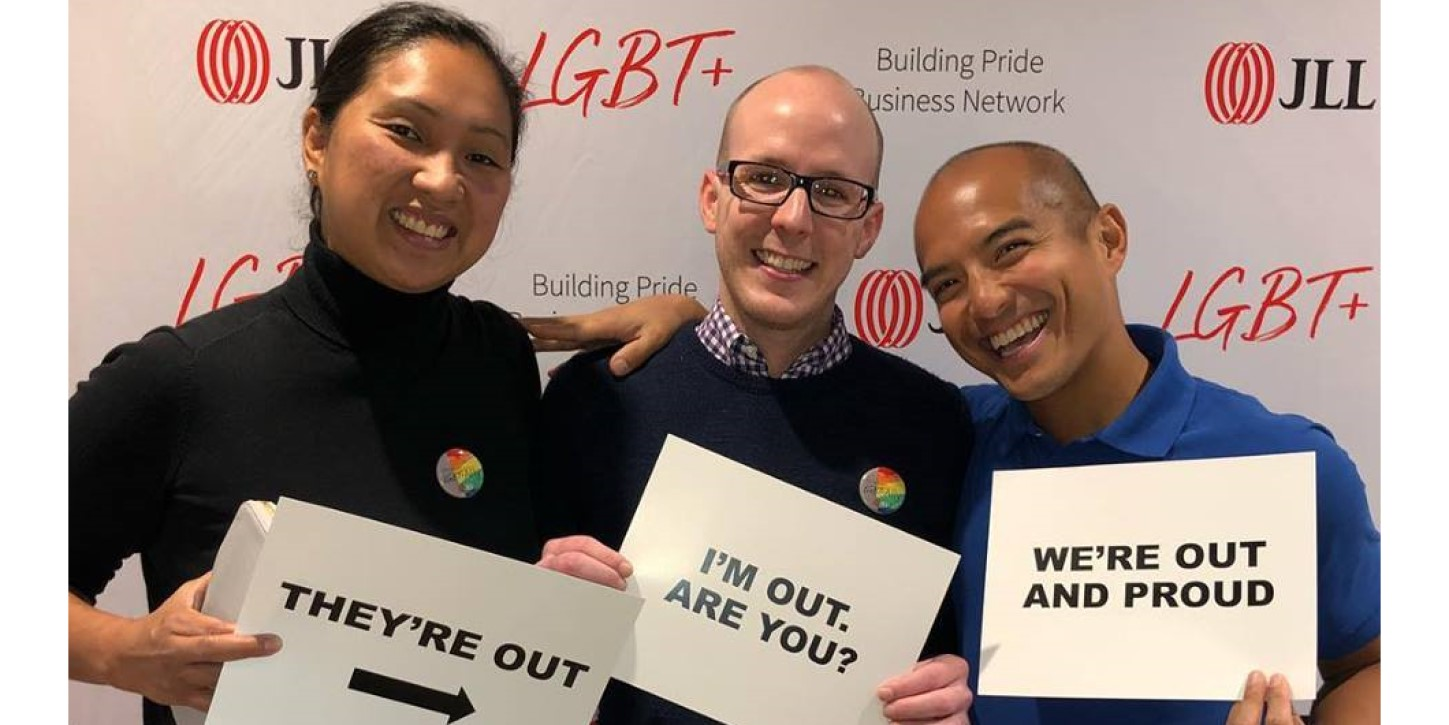 Chicago National Coming Out Day — JLL colleagues and clients attend a viewing of JLL's 2018 National Coming Out Day Video