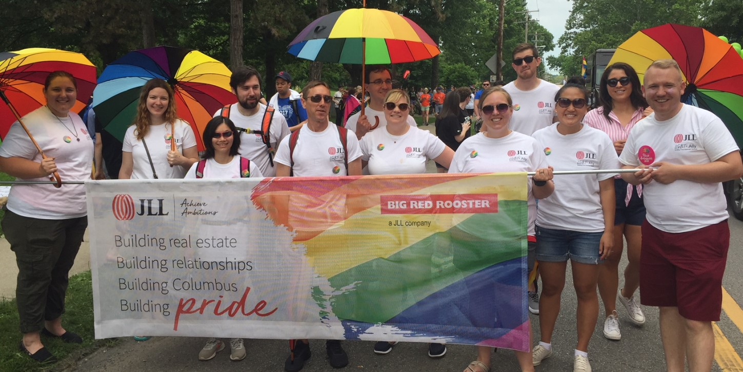 Building Pride Columbus chapter marches in the 2018 Pride Parade.