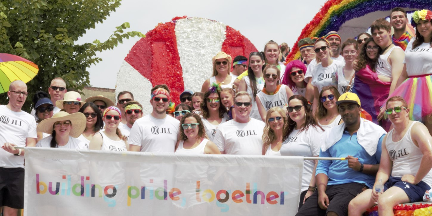 Building Pride Chicago chapter riding in the float they created for the Pride Parade in 2019