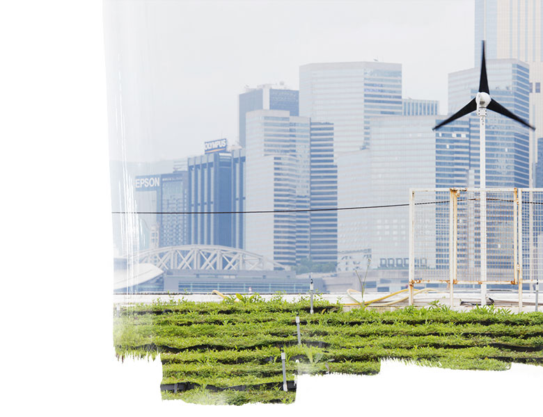 Wind turbine and garden in front of a city skyline.