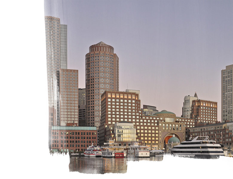 The Boston skyline as viewed from Boston Harbor